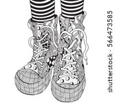 cool shoes in zentangle style ... | Shutterstock . vector #566473585
