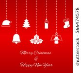 hanging christmas symbols on... | Shutterstock . vector #566474578