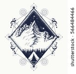 mountains tattoo art. symbol of ... | Shutterstock .eps vector #566484466