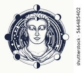 buddha face tattoo art. symbol...   Shutterstock .eps vector #566485402