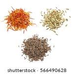 a placer of saffron  cumin and... | Shutterstock . vector #566490628
