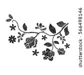 black flower embroidery ... | Shutterstock .eps vector #566498146