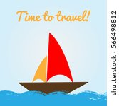 colorful banner with sailboat... | Shutterstock .eps vector #566498812