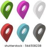 set of isometric map pointers.... | Shutterstock . vector #566508238