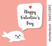 baby seal pup cartoon character.... | Shutterstock .eps vector #566511892