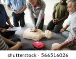 cpr first aid training concept | Shutterstock . vector #566516026