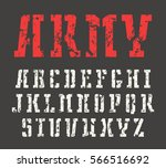 stencil serif font in military... | Shutterstock .eps vector #566516692
