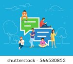 speech bubbles for comment anf... | Shutterstock .eps vector #566530852