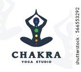 yoga studio logo template.... | Shutterstock .eps vector #566553292