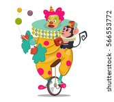 circus clown juggling on a... | Shutterstock .eps vector #566553772