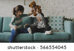 brother sister playing...   Shutterstock . vector #566554045