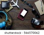 top view accessories  travel...   Shutterstock . vector #566570062