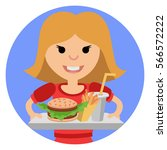 young girl with fast food in... | Shutterstock .eps vector #566572222