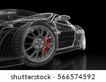 car vehicle 3d blueprint mesh... | Shutterstock . vector #566574592
