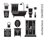 bathroom modern furniture icons.... | Shutterstock .eps vector #566585122