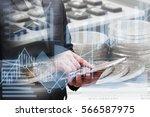 double exposure businessman...   Shutterstock . vector #566587975