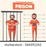 prison with prisoner. character ... | Shutterstock .eps vector #566591242