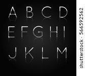 realistic silver alphabet. set... | Shutterstock .eps vector #566592562
