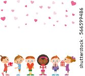 child and valentine's day | Shutterstock .eps vector #566599486