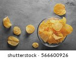 Potato Chips In Bowl With...