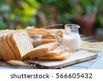 slice whole wheat bread ...   Shutterstock . vector #566605432
