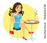 brunette girl drinking coffee | Shutterstock .eps vector #566606158