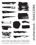 set of vector black pen ink... | Shutterstock .eps vector #566612086