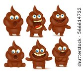set of cute poop emoji... | Shutterstock .eps vector #566614732