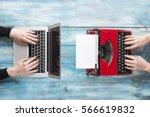 Old Typewriter And Laptop....
