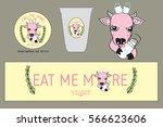 cow milk icon set for shop logo ... | Shutterstock .eps vector #566623606