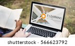 distance learning online... | Shutterstock . vector #566623792