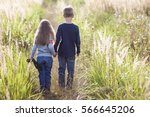 little boy and little girl... | Shutterstock . vector #566645206