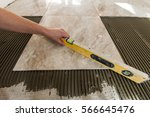 ceramic tiles and tools for... | Shutterstock . vector #566645476