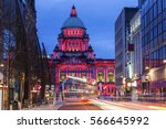 Illuminated Belfast City Hall at evening. Belfast, Northern Ireland, United Kingdom.