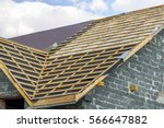 roofing construction. wooden... | Shutterstock . vector #566647882