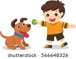 happy young boy playing with... | Shutterstock .eps vector #566648326