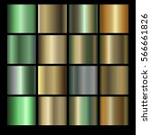 Set of different metallic gradients. Collection of multicolored backgrounds. Vector illustration