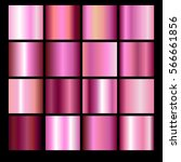 Set of different pink gradients. Collection of multicolored backgrounds. Vector illustration
