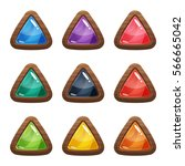 cartoon vector triangle buttons ...
