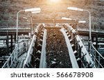 coal conveyor system to the... | Shutterstock . vector #566678908