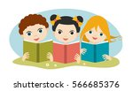 book concept. little cute group ... | Shutterstock .eps vector #566685376