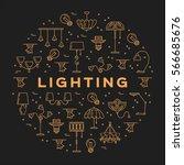 lighting store circle... | Shutterstock .eps vector #566685676