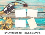 retro camera and empty old... | Shutterstock . vector #566686996
