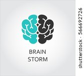 black and green icon of brain ... | Shutterstock .eps vector #566692726