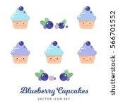 cute vector blueberry cupcakes... | Shutterstock .eps vector #566701552