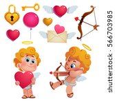 vector set of cute cupids and... | Shutterstock .eps vector #566703985