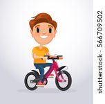Little Boy Character Riding...