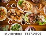 papaya salad  grilled chicken... | Shutterstock . vector #566714908