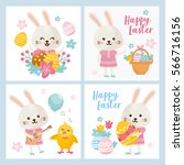 easter day greeting card set.... | Shutterstock .eps vector #566716156