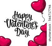 heart shaped balloon. happy... | Shutterstock .eps vector #566717746